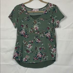 Tempted Green Floral Blouse Size S